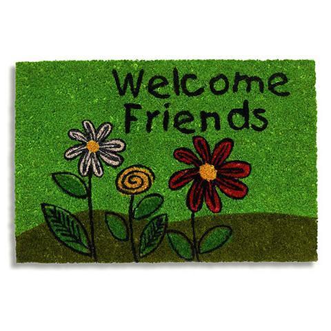 Kokosfussmatte Welcome friends mit Blumen