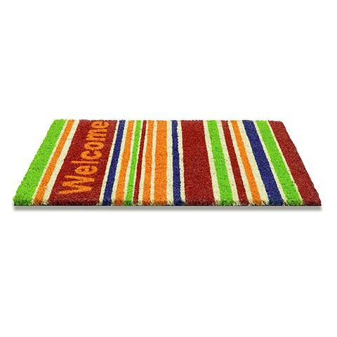Kokosfussmatte welcome stripes